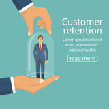 Customer retention concept. Customer Care. Providing save customer loyalty. Vector illustration flat design. Isolated on white background. Businessman holding Royalty Free Stock Images