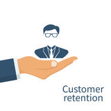 Customer retention concept. Customer Care. Providing save customer loyalty. Vector illustration flat design. Isolated on white background. Businessman in a Royalty Free Stock Image