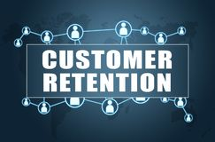 Customer Retention. Text concept on blue background with world map and social icons Stock Image