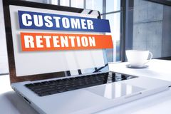 Customer Retention. Text on modern laptop screen in office environment. 3D render illustration business text concept Royalty Free Stock Photo