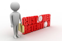 Customer Retention with 3d man concept Stock Photo