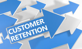 Customer Retention. 3d render concept with blue and white arrows flying over a white background Royalty Free Stock Images