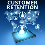 Customer Retention. Illustration with tablet computer on blue background Stock Photo
