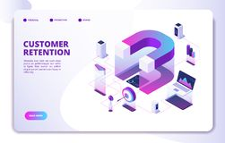 Customer retention isometric landing page. Client loyalty sale branding marketing, relationship. Attractive business royalty free illustration