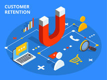 Customer retention or loyalty isometric vector concept illustrat Stock Photography