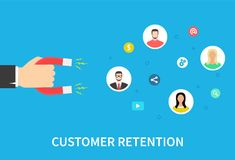 Customer retention strategy, attract customers, customer support and service, digital marketing, flat vector banner. Infographics with icons. Vector Stock Photo