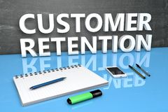 Customer Retention text concept. Customer Retention - text concept with chalkboard, notebook, pens and mobile phone. 3D render illustration Royalty Free Stock Photography