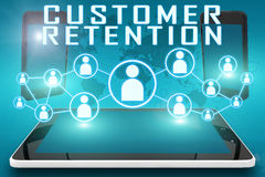 Customer Retention. Text illustration with social icons and tablet computer and mobile cellphones on cyan digital world map background Royalty Free Stock Image