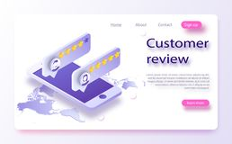 Customer review concept. Feedback, reputation and quality concept. Review rating on mobile phone vector illustration stock illustration