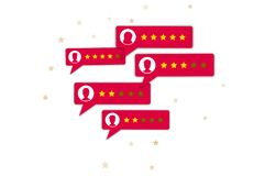 Customer review concept. 5 star rating system, group of red bubble speech with user profiles. Concept of client grading system. Testimonials, notifications stock illustration