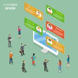 Customer review flat isometric vector concept. Speech bubbles with customer comments are popping out from the PC monitor. People around it are discussing them Stock Photos