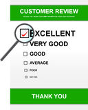 Customer review form. Illustration of customer review form with magnifying glass Royalty Free Stock Photo