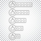 Customer review icon. Thumb up with stars rating vector illustra Royalty Free Stock Images