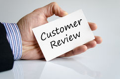 Customer review text concept. Isolated over white background stock image