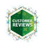 Customer Reviews floral plants pattern green hexagon button vector illustration