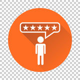 Customer reviews, rating, user feedback concept vector icon. Fla. T illustration on orange background with long shadow Royalty Free Stock Photos