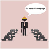 The customer is always right concept. Businesss comic symbol Royalty Free Stock Images