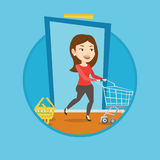 Customer running into the shop with trolley. Royalty Free Stock Image