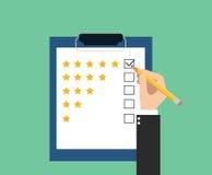 Customer satifsfaction. Customer service illustration for feedback and get survey for customer satifsfaction stock illustration