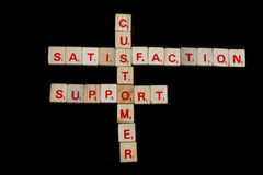 Customer satisfaction. Training crossword puzzle made with wood tile Stock Image