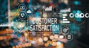 Customer satisfaction with blurred city lights royalty free stock photo