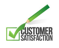 Customer satisfaction checkmark and pencil Royalty Free Stock Photos
