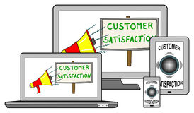 Customer satisfaction concept on different devices Stock Photo