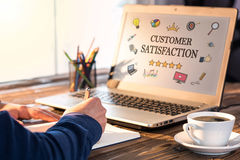 Customer Satisfaction Concept On Laptop Monitor Stock Images