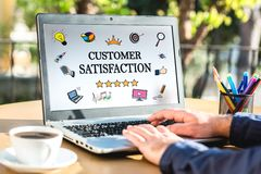 Customer Satisfaction Concept On Laptop Monitor. Customer Satisfaction Concept With Various Hand Drawn Doodle Icons On Laptop Monitor Stock Photos