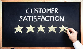 Customer Satisfaction Concept, Man Filling In Rating Stars On Bl. Ackboard Stock Photos