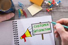 Customer satisfaction concept on a notepad. Customer satisfaction concept drawn on a notepad placed on a desk Royalty Free Stock Image