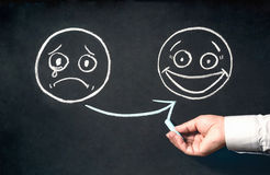 Customer Satisfaction Concept With Sad And Happy Face Sketchs On. Blackboard Stock Photo