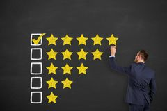 Customer Satisfaction Concepts on Blackboard Background. Working stock images