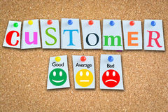 Customer satisfaction or evaluation of business performance. With smiley faces on cork board Royalty Free Stock Photo