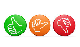 Customer Satisfaction Feedback Review Buttons. Positive, medium and negative customer satisfaction feedback, rating and survey buttons with thumb up and down Royalty Free Stock Image