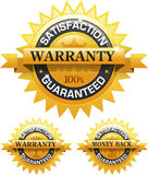 Customer satisfaction guaranteed gold badge. And banner EPS 10 Royalty Free Stock Photo