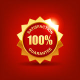 Customer satisfaction guaranteed. Gold badge Vector Illustration