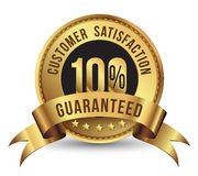 100% customer satisfaction guaranteed. A gold label with the text customer satisfaction guaranteed and 100% sign on the center Stock Photography