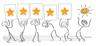Customer satisfaction. Illustration with stick figures Stock Photo