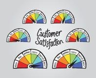 Customer satisfaction illustrations. On grey background Stock Photo