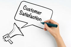 Customer Satisfaction. Megaphone and text on a white background Stock Photo
