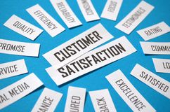 CUSTOMER SATISFACTION paper tag cloud on blue background royalty free stock photography