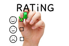 Customer Satisfaction Rating Concept. Hand putting check mark with green marker on excellent rating. Customer satisfaction concept royalty free stock images