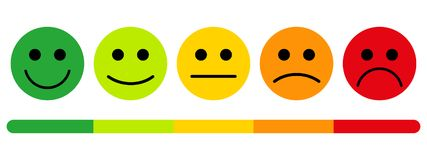 Emotions with smiles. Customer satisfaction rating. The scale of emotions with smiles stock illustration