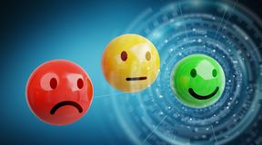 Customer satisfaction rating with smiley 3D rendering. Customer satisfaction rating with smiley on blue background 3D rendering Stock Photography