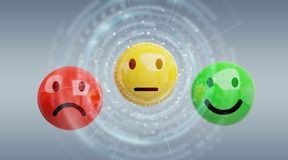 Customer satisfaction rating with smiley 3D rendering. Customer satisfaction rating with smiley on grey background 3D rendering Stock Images