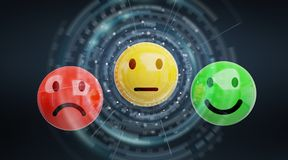 Customer satisfaction rating with smiley 3D rendering. Customer satisfaction rating with smiley on dark background 3D rendering Stock Photography