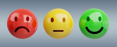 Customer satisfaction rating with smiley 3D rendering. Customer satisfaction rating with smiley on grey background 3D rendering Royalty Free Stock Photography