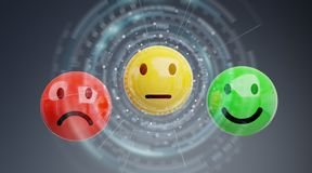 Customer satisfaction rating with smiley 3D rendering. Customer satisfaction rating with smiley on grey background 3D rendering Royalty Free Stock Image