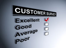 Customer satisfaction survey. Excellent experience checkbox ticked in customer service survey form Royalty Free Stock Image
